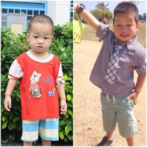 Left: Kai's referral photo (2012) Right: Kai enjoying his first Easter egg hunt (2015)